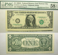 1988 A $1 MISALIGNMENT ERROR NOTE F 1915 J PMG CHOICE ABOUT UNCIRCULATED 58 EPQ