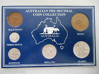 1959 AUSTRALIAN PRE DECIMAL 6 COIN SET IN SPECIAL CARD  VERY NICE  BIRTHDAY GIFT