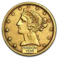 $5 LIBERTY GOLD HALF EAGLE XF  RANDOM YEAR    SKU 119