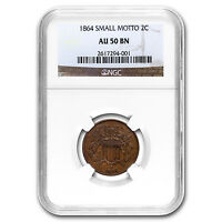 1864 TWO CENT PIECE SMALL MOTTO AU-50 NGC - SKU 94840