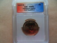2007-D ICG - MINT STATE 67 JEFFERSON DOLLAR, NEW & UNCIRCULATED