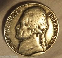 1986 P JEFFERSON NICKEL   AVERAGE CIRCULATED