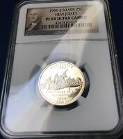 1999 S NEW JERSEY NGC PROOF PF 69 ULTRA CAM 90 SILVER QUARTER PORTRAIT LABEL