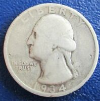 THIS 1934 D WASHINGTON QUARTER IS IN EXCELLENT CONDITION I GRADE IT AG/G   NICE