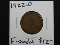 1922 D FINE LINCOLN WHEAT CENT CIRCULATED   NICE DETAILS   GOOD COIN   SCRATCHED