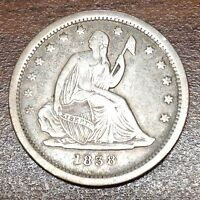 1838 SEATED LIBERTY QUARTER  HIGH GRADE XF LOW MINTAGE COIN NO DRAPERY