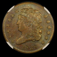 1828 1/2C 13 STARS CLASSIC HEAD HALF CENT NGC MS63BN NICE LUSTER AND COLOR CAC