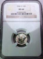 1945 D MERCURY SILVER DIME  NGC MS 66 GORGEOUS COIN NICE WHITE OBV TONED REV