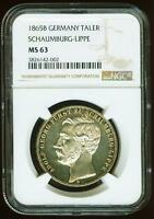 GERMANY SCHAUMBURG LIPPE 1865B TALER NGC MS 63 THE SAME QUALITY AS BY PF GRADES
