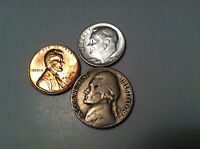 1958 D LINCOLN WHEAT CENT 1950 P JEFFERSON NICKEL 1954 SILVER ROOSEVELT DIME