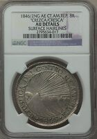 1846 OVER 2 GUATEMALA 8 REALES SILVER CENTRAL AMERICAN REPUBLIC OVERDATE NGC AU