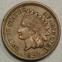 1862 INDIAN CENT ORIGINAL ALMOST UNCIRCULATED COIN  0907 03