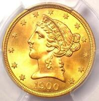 1900 LIBERTY GOLD HALF EAGLE $5   PCGS MS66    IN MS66   $6,000 VALUE