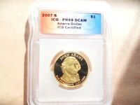 2007-S ICG-PR69 DCAM ADAMS DOLLAR NEW AND UNCIRCULATED