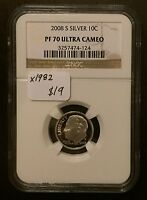 2008 S SILVER PROOF ROOSEVELT DIME NGC PF 70 ULTRA CAMEO BUY 3 GET $5 OFF X1982
