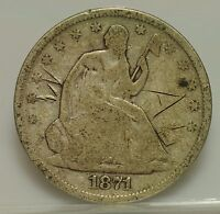1871 S LIBERTY SEATED HALF DOLLAR  W AND AL CUT ON OBVERSE  GOOD