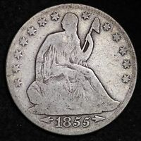 1855 O SEATED LIBERTY HALF DOLLAR CHOICE FINE