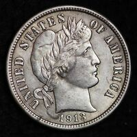 1913 BARBER DIME CHOICE AU  E288 T