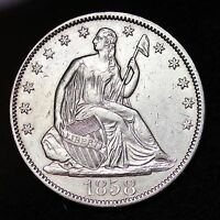 1858 SEATED LIBERTY HALF DOLLAR CHOICE AU  E366 BM