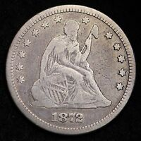 1872 SEATED LIBERTY QUARTER CHOICE FINE/VF  E288 MT