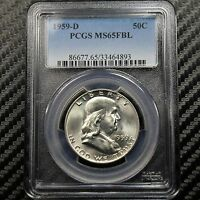1959 D FRANKLIN HALF DOLLAR PCGS MS65 FBL   FULL BELL LINES 64893
