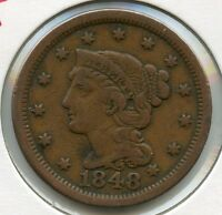 1848 BRAIDED HAIR LARGE CENT PENNY   L1C JR921
