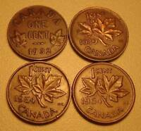 1932 1939 1948 1964 CANADA   FOUR ONE CENT COINS AVERAGE CIRCULATED OUR SM110
