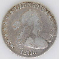 1806 UNITED STATES DRAPED BUST HALF DOLLAR 50 CENT COIN