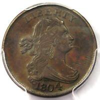 1804 SPIKED CHIN DRAPED BUST HALF CENT 1/2C COIN   CERTIFIED PCGS XF45 EF45