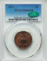 1871 PROOF TWO CENT PIECE PCGS PR 66 RB