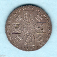 GREAT BRITAIN. 1787   GEORGE  111 SIXPENCE..  WITH HEARTS..  EF   MUCH LUSTRE