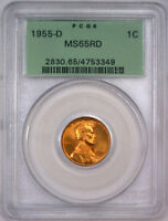 1955 D LINCOLN WHEAT CENT WHEATBACK PENNY BU UNC GREEN PCGS MS 65 RED RD OGH F
