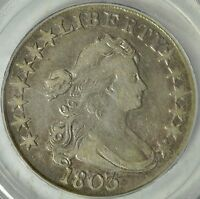 ATTRACTIVE 1803 DRAPED BUST HALF DOLLAR, O-103 LG 3, PCGS VF30,3-DAY RETURN