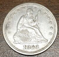 1846 SEATED LIBERTY QUARTER  HIGH GRADE AU LOW MINTAGE COIN