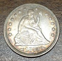 1873 ARROWS SEATED LIBERTY QUARTER  HIGH QUALITY AU TONED COIN