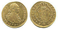 SPANISH GOLD COIN MADRID 1 ESCUDO BUST CHARLES IIII 1791 MF 7022