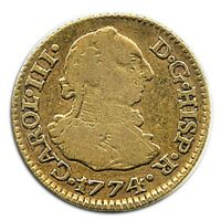 SPANISH GOLD COIN MADRID 1/2 ESCUDO BUST CHARLES III 1774 PJ 4047
