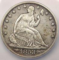 1853 O ARROWS & RAYS SEATED LIBERTY HALF DOLLAR 50C   CERTIFIED ICG AU50 DETAILS