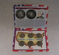 SUSAN B. ANTHONY DOLLARS 1979 & 1980  P D S  IN COMMEMORATIVE COLLECTION DISPLAY