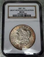 1887-S MORGAN DOLLAR - NGC MINT STATE 63 GREAT MONTANA COLLECTION - NO RESERVE