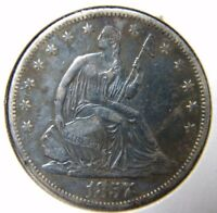 1857 O LIBERTY SEATED HALF DOLLARLY FINE CONDITIONMARKS        EO