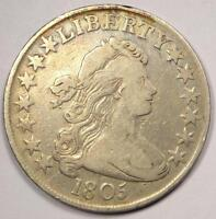 1805 DRAPED BUST HALF DOLLAR 50C - VF DETAILS  FINE -  COIN
