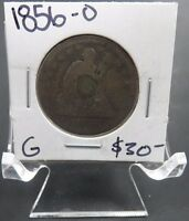 1856 O G GOOD SEATED LIBERTY QUARTER   GREAT DETAILS   GOOD COIN