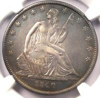1840 O SEATED LIBERTY HALF DOLLAR 50C   CERTIFIED NGC AU DETAILS    DATE