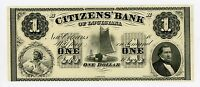 1800'S $1 THE CITIZENS' BANK   NEW ORLEANS LOUISIANA NOTE AU