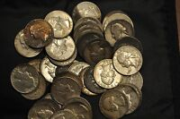 MIXED ROLL OF CIRCULATED 90 SILVER WASHINGTON QUARTERS VARIOUS DATES 1939 1964