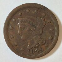1849 BRAIDED HAIR LARGE CENT PENNY US COIN VF P94