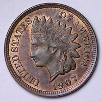 1907 INDIAN HEAD CENT PENNY CHOICE UNC  E143 CM