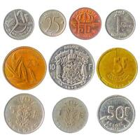 10 DIFFERENT BELGIUM COINS. FRANCS CENTIMES.  OLD COLLECTIBLE MONEY 1948 2001