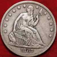 1867 S SAN FRANCISCO MINT:  SEATED HALF DOLLAR WITH  UNGRADED